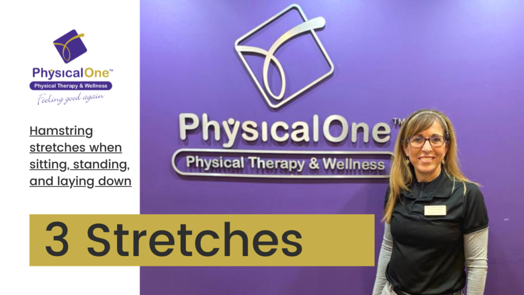 Doctor with title of video for 3 hamstring stretches