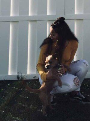 Daniella Castro with her dog