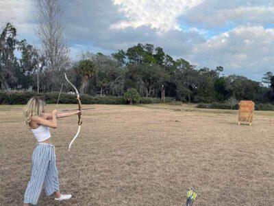 Jackie Rodriguez practicing archery