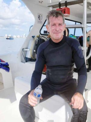 Ofer Amit in a boat